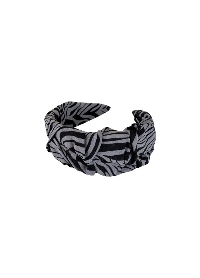 Grey Black Zebra Headband