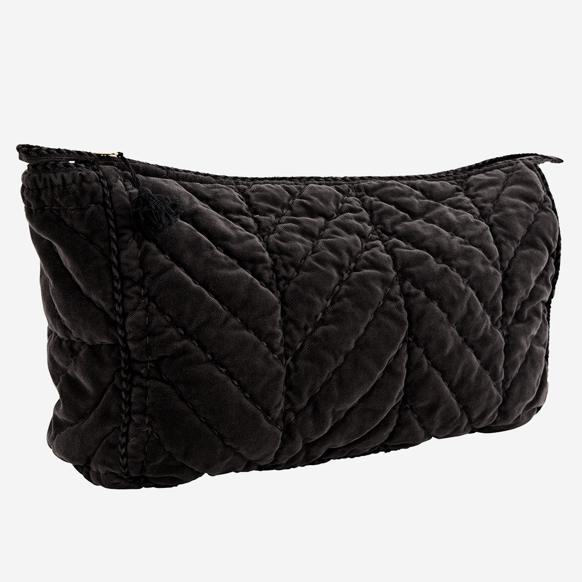 Charcoal Black Velvet Wash Bag