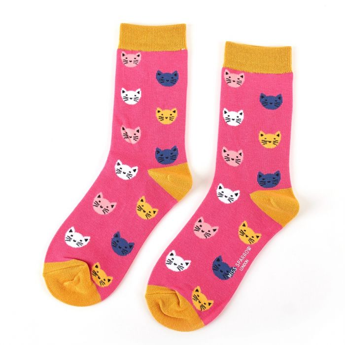 Kitty Faces Pink Socks