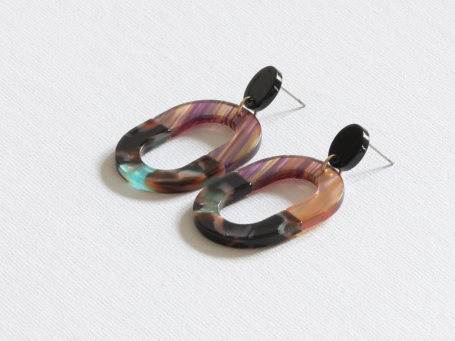 Celia 2 Tone Oblong Resin Earrings