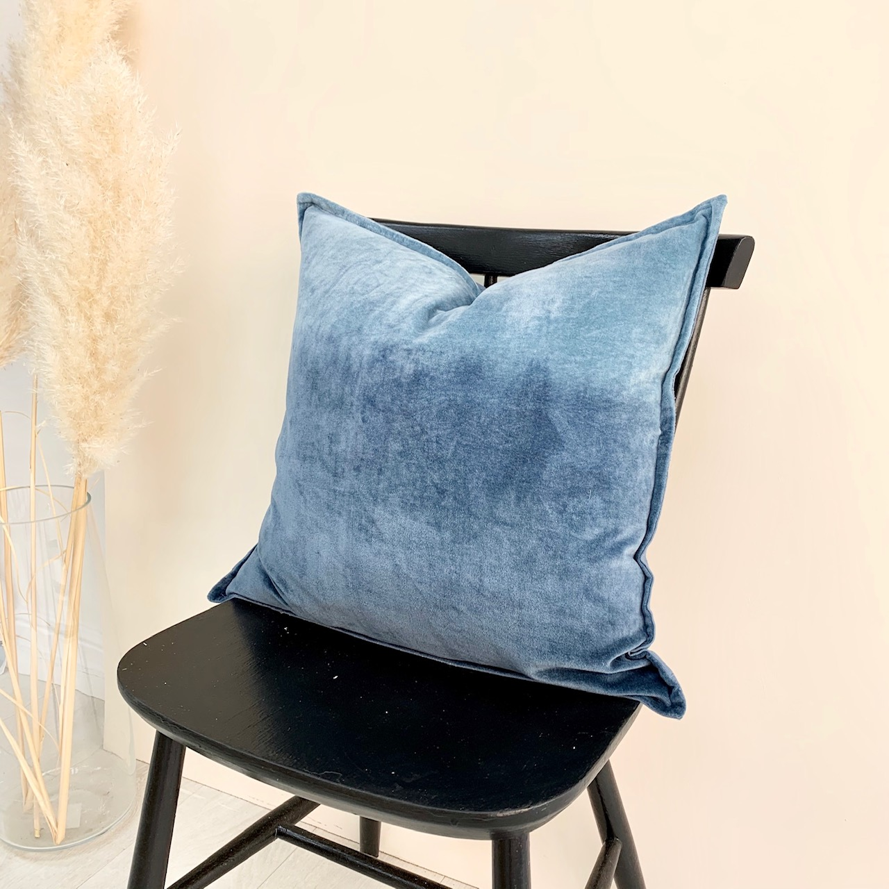 Velvet ombré cushion  denim