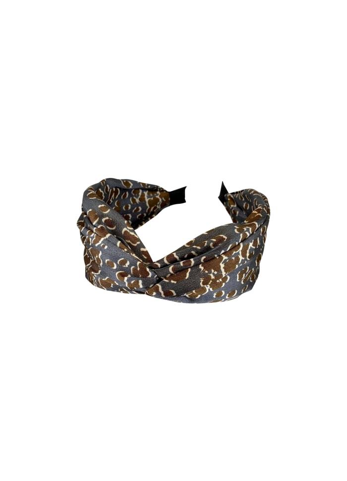 Grey Satin Leopard Headband
