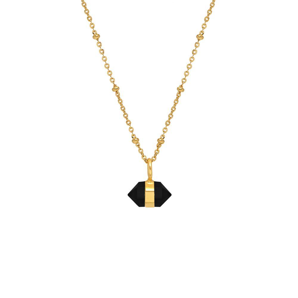 Horizontal Mini Double Point Necklace - Black Onyx