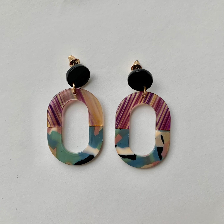 Celia 2 Tone Oblong Resin Earrings