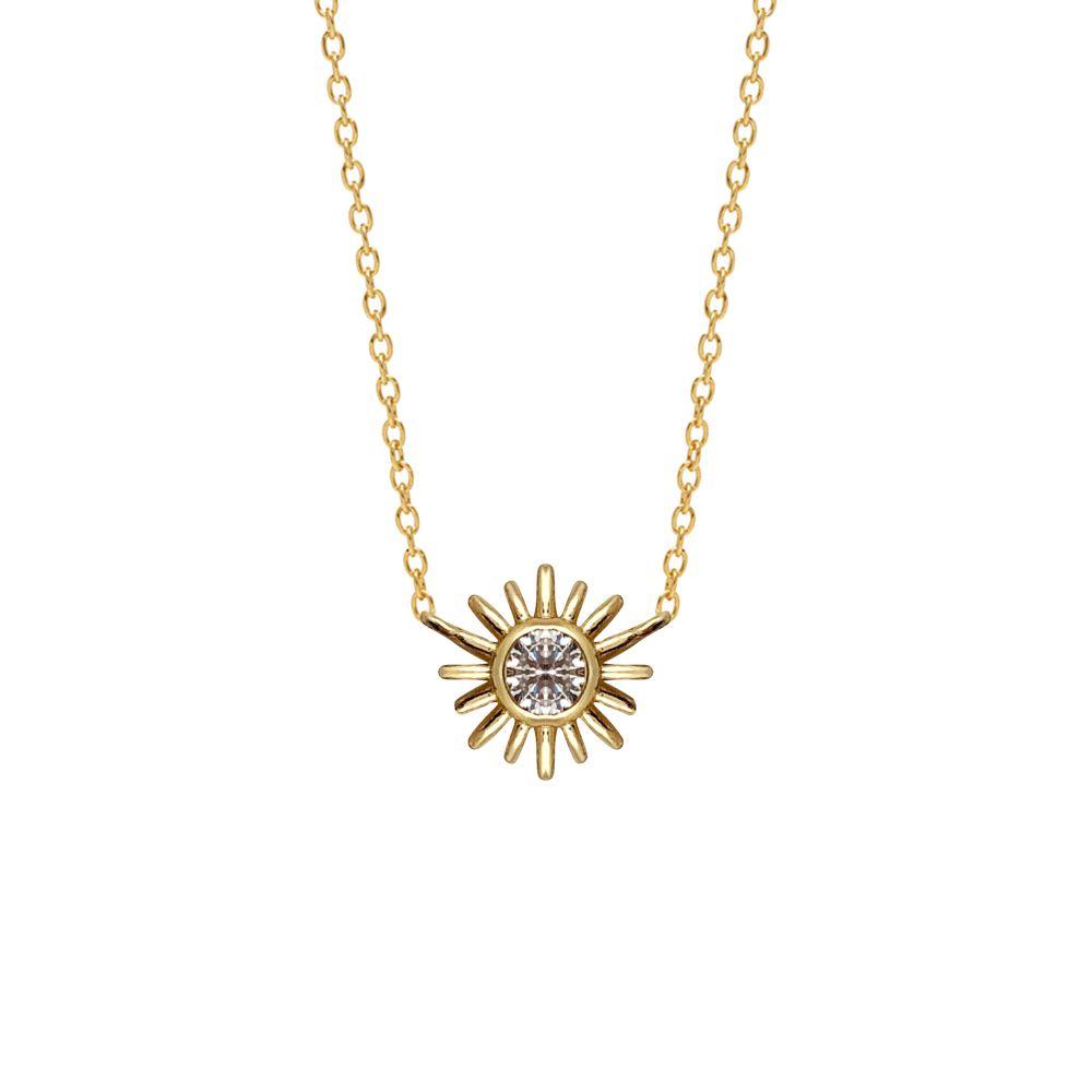 Sunburst white zircon necklace