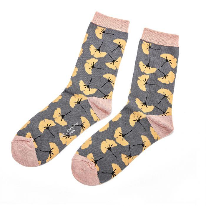 Ginkgo Leaves Slate Socks