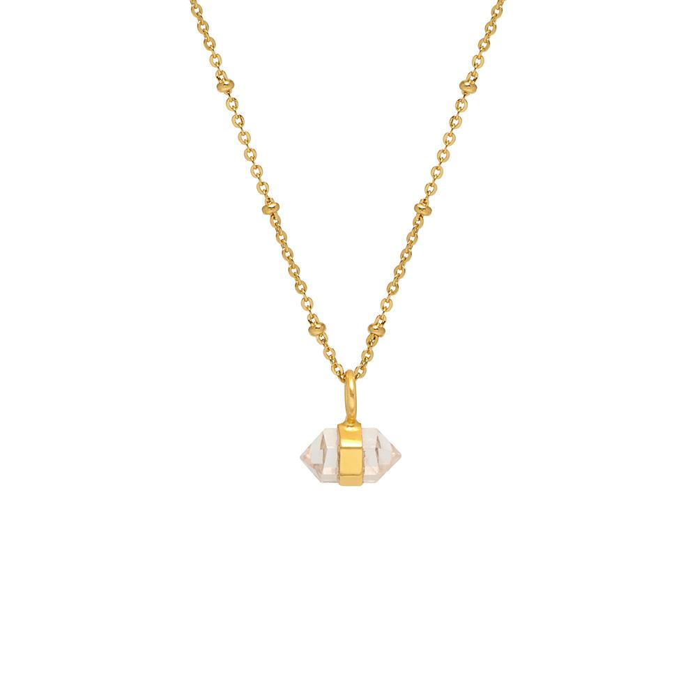 Horizontal Mini Double Point Necklace - Rose Quartz