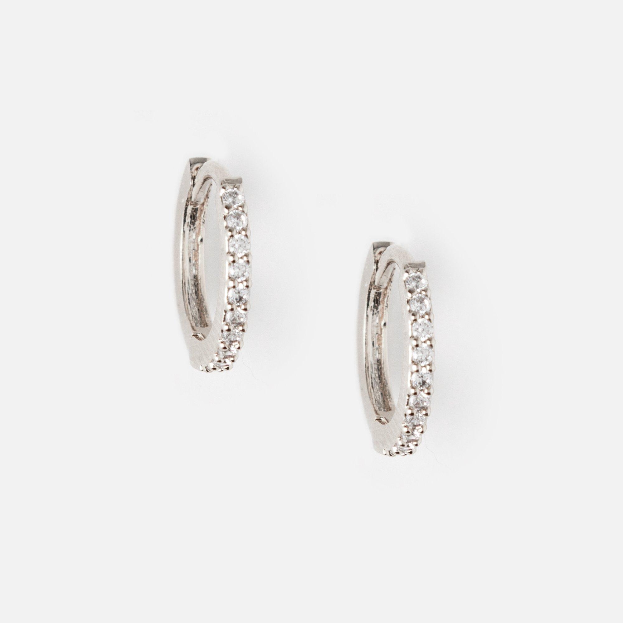 Mini Pave Huggie Hoop Earrings Crystal