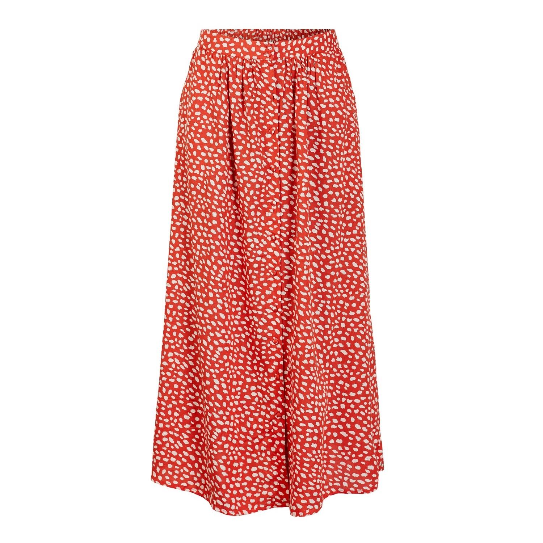 Roya High Waist Red Midi Skirt