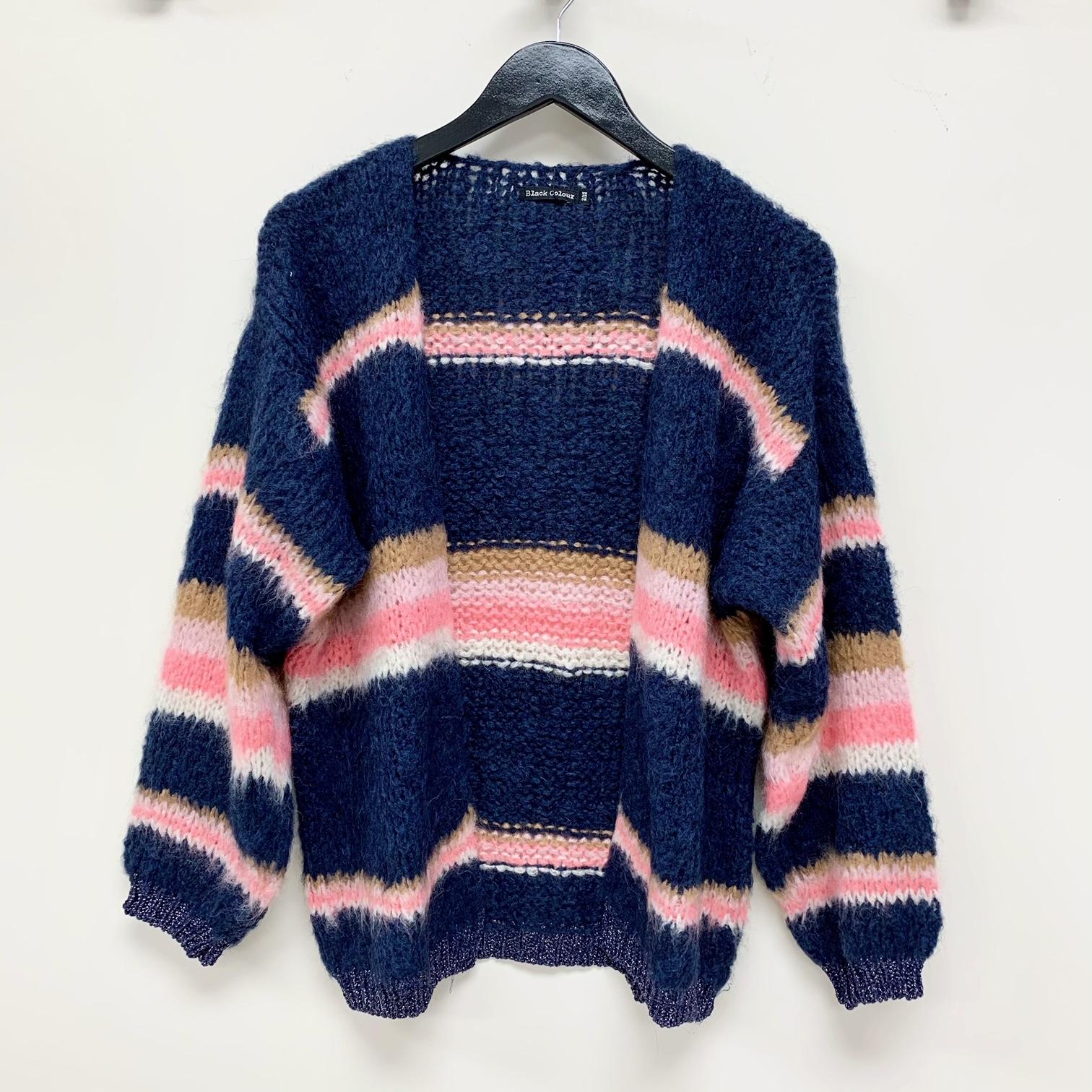 Tara Pink Stripe Knit Cardigan ONE SIZE