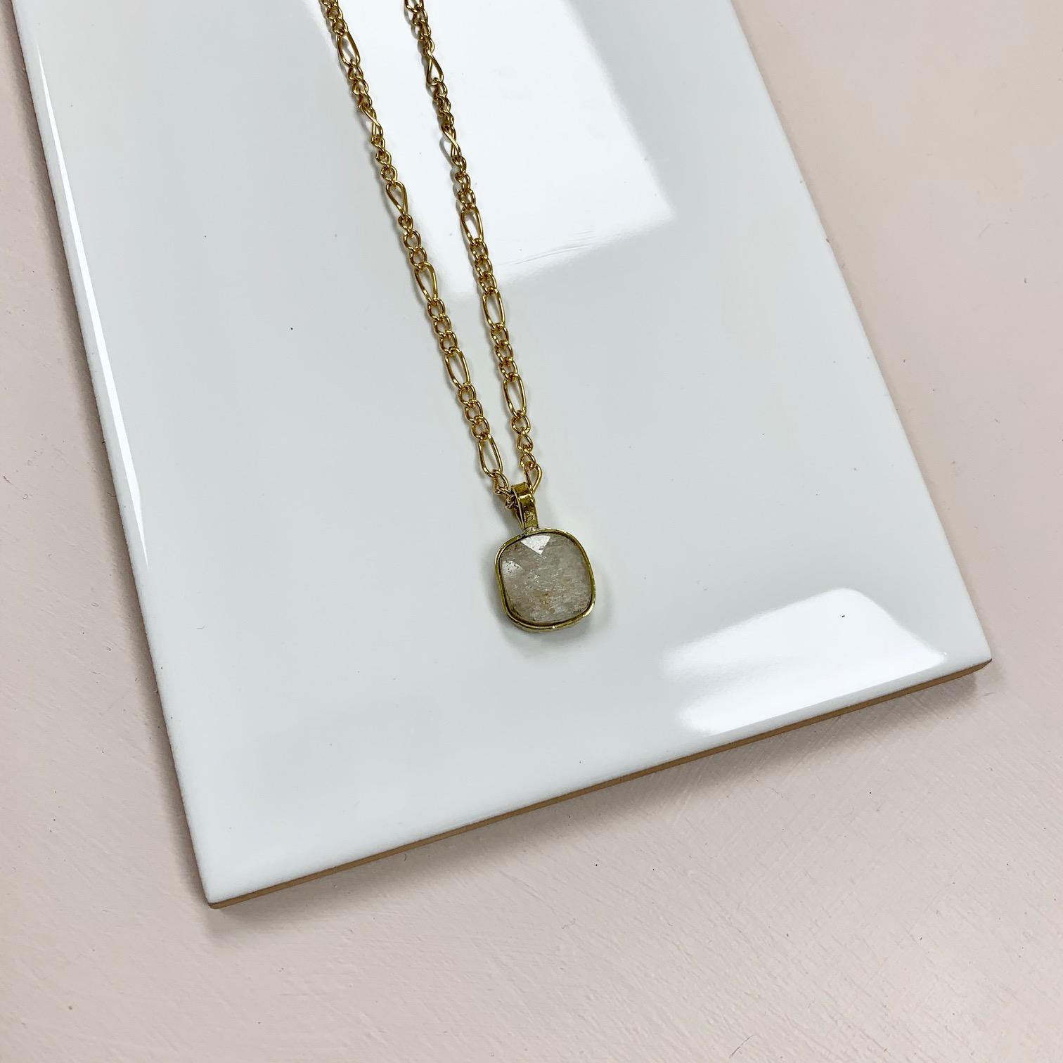 Kunzite Bezel on Figaro Chain