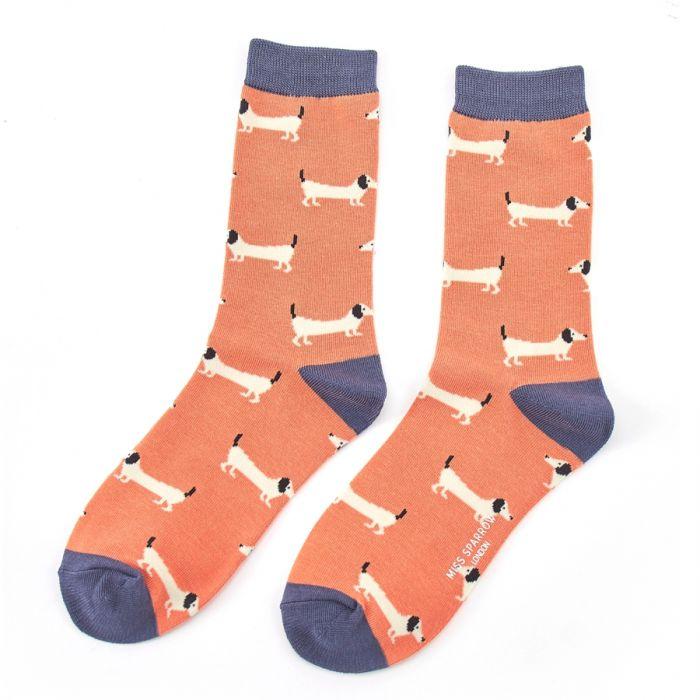 Orange Sausage Dog Socks