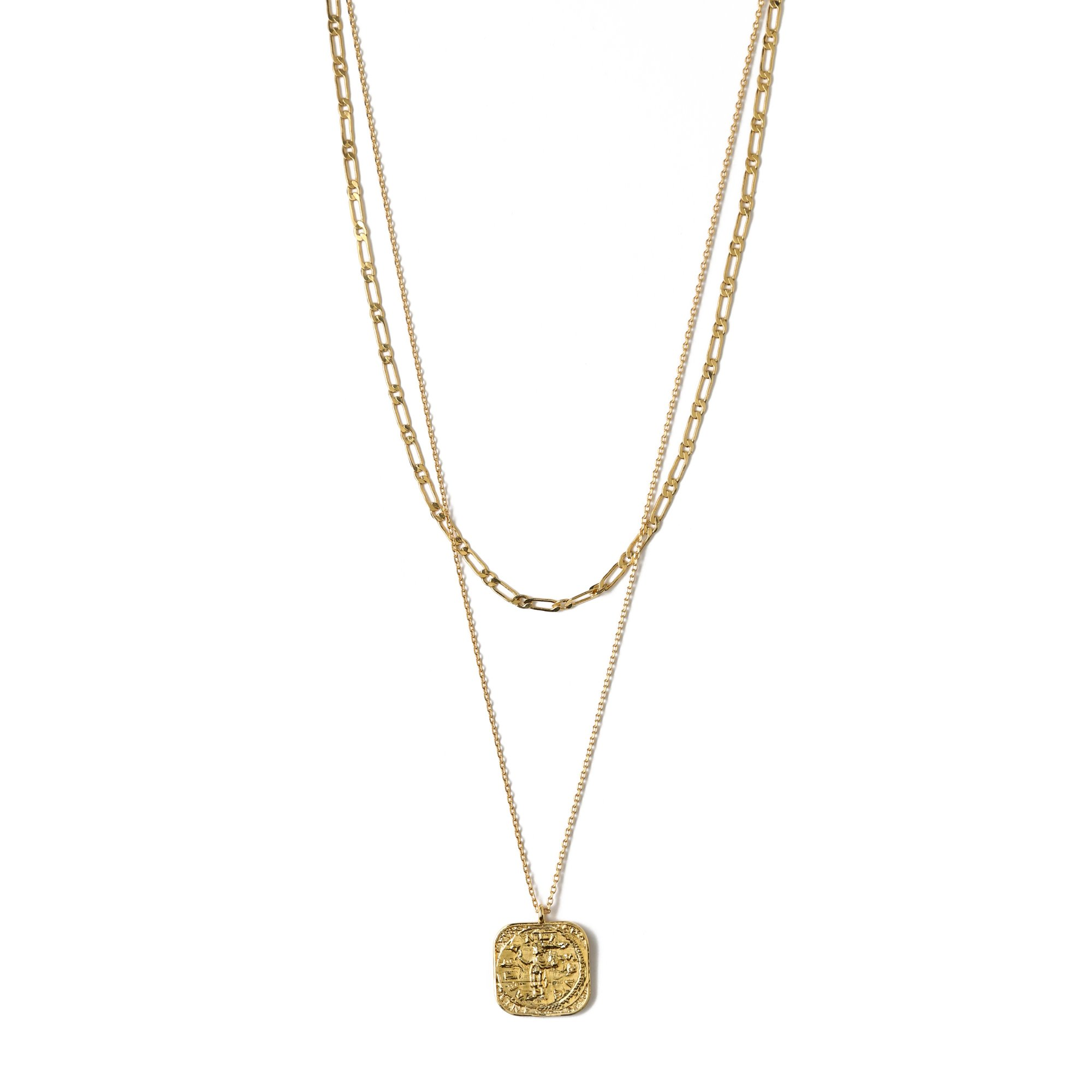 Square Coin Chain 2 Row Necklace