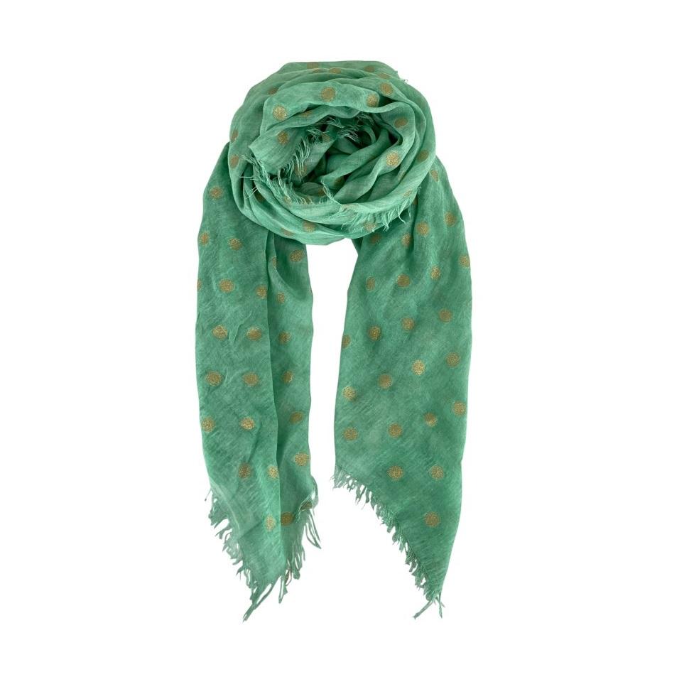 Faith gold dot green scarf