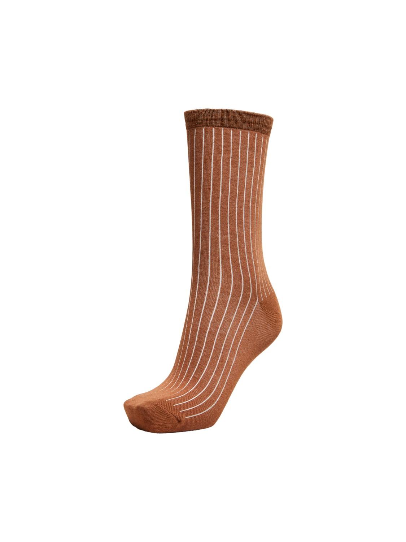 Bobby Ribbed Sock Bronze Brown
