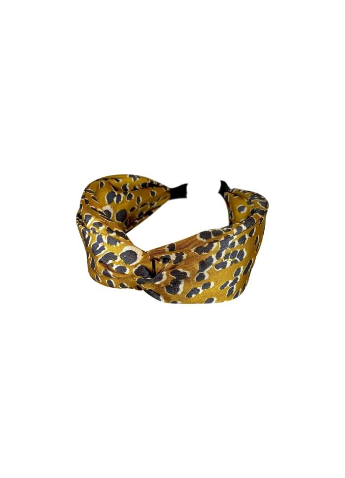 Gold Satin Leopard Headband