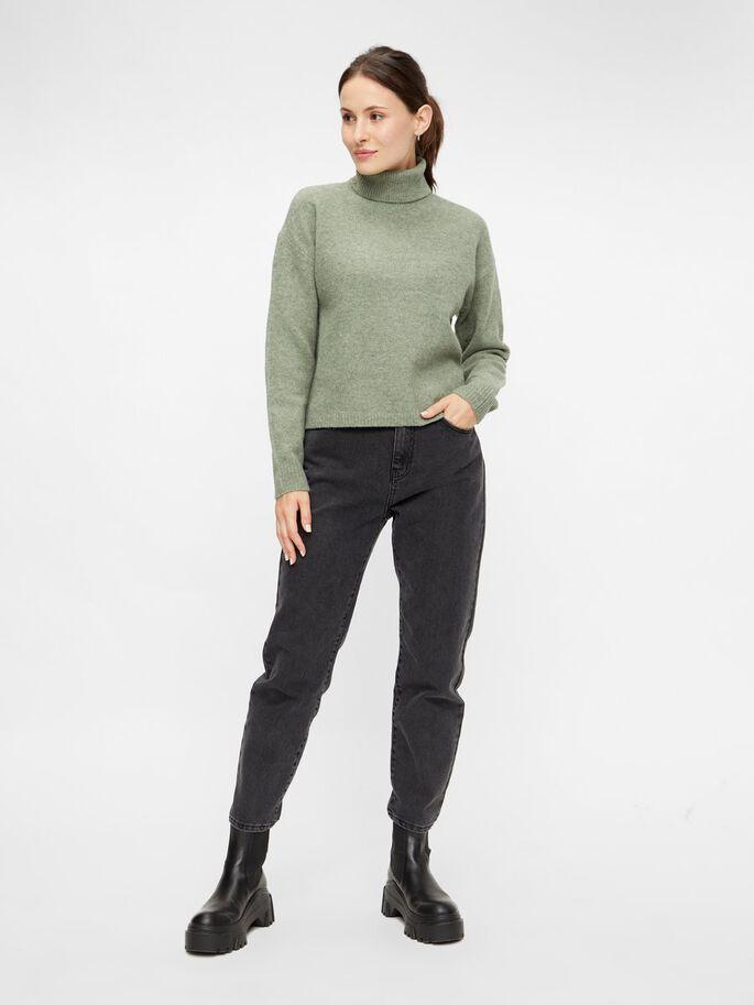 Skylar Green Wool Blend Roll Neck