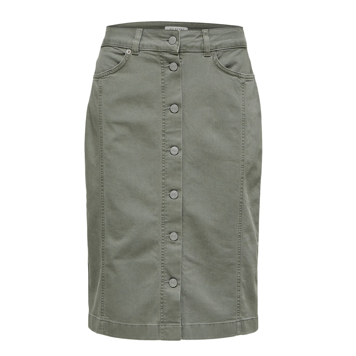 SALE Lise High Waisted Green Denim Skirt