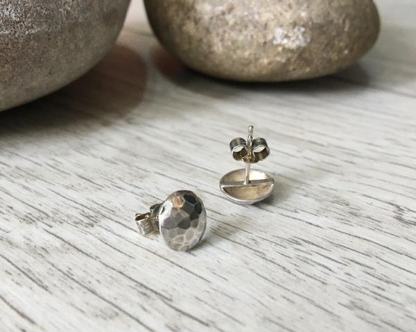 Silver Hammered Moon earrings