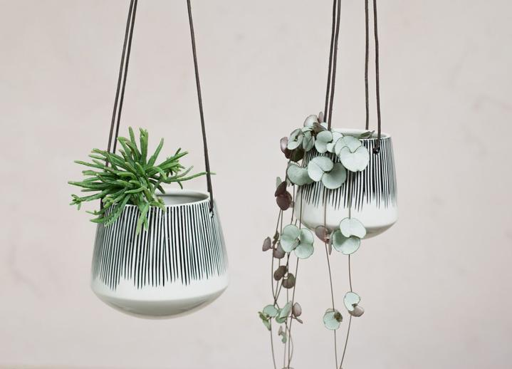 Matamba Ceramic Hanging Planter - Black Lines