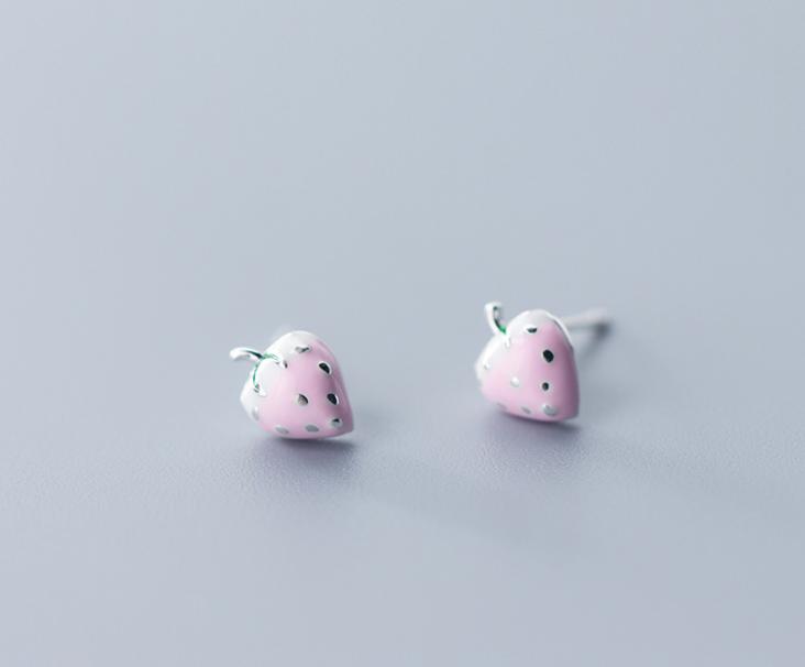 Pastel Pink Strawberry Earrings