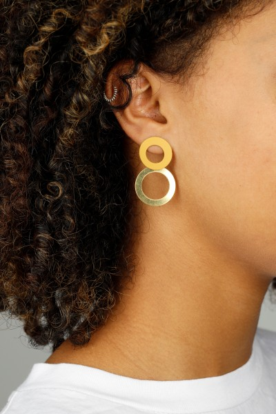 Circles matt coloured Earring Stud