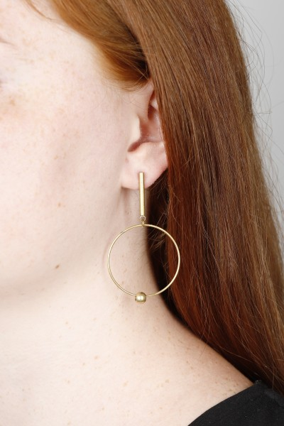Stud Bar & Bead Earring