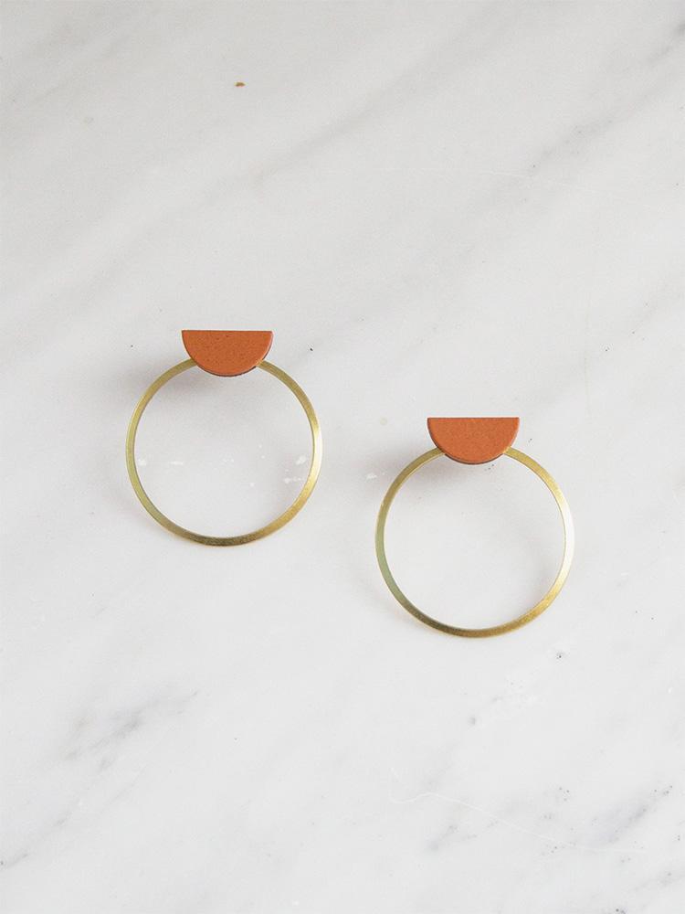 Half Circle Hoop Stud Earrings