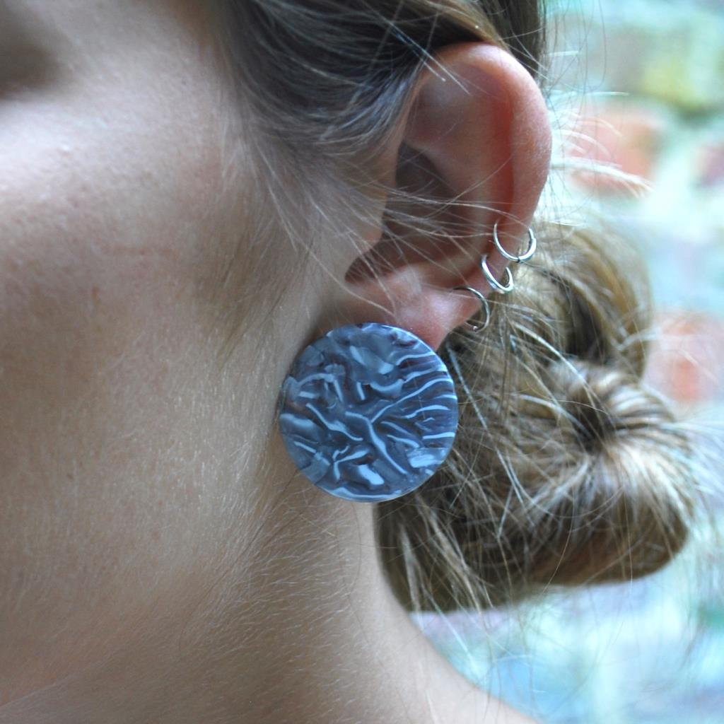 Blue Textured Disc Earrings