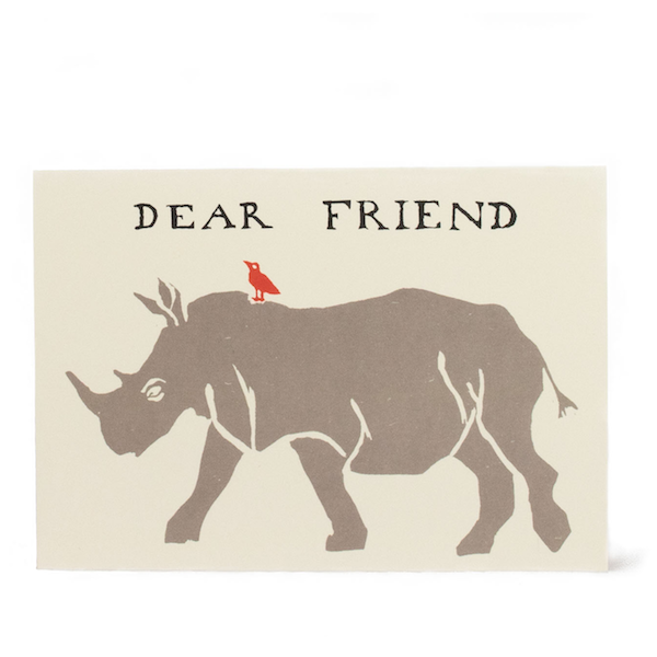 'Dear Friend' Rhinoceros Card