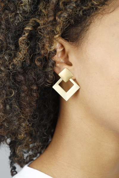 Square Studs 2 in 1 Earrings