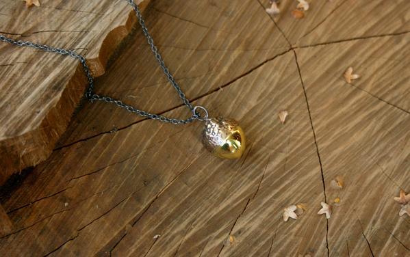 Brass Acorn Necklace