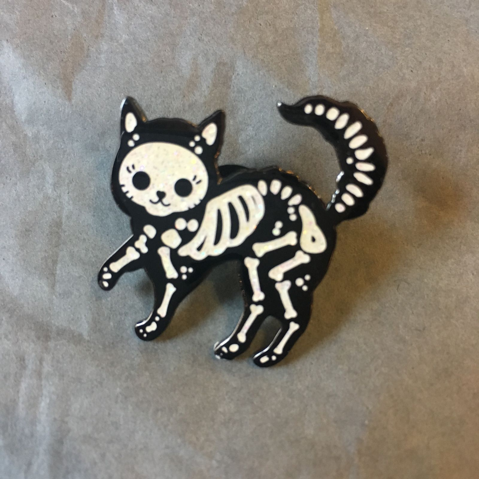 Pin Badge - Skeleton Cat Design.