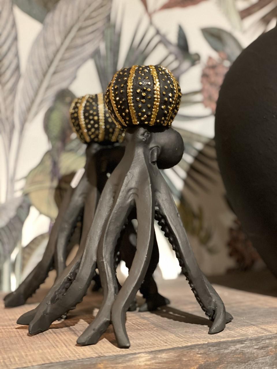 Ljusstake bläckfisk svart/guld kronljus