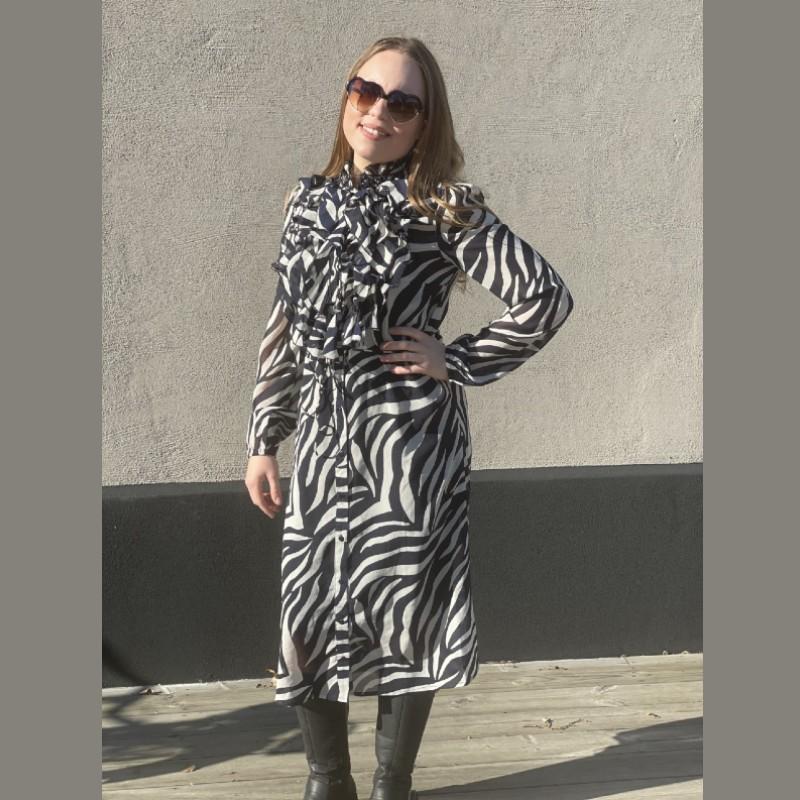 Klänning med krås zebra