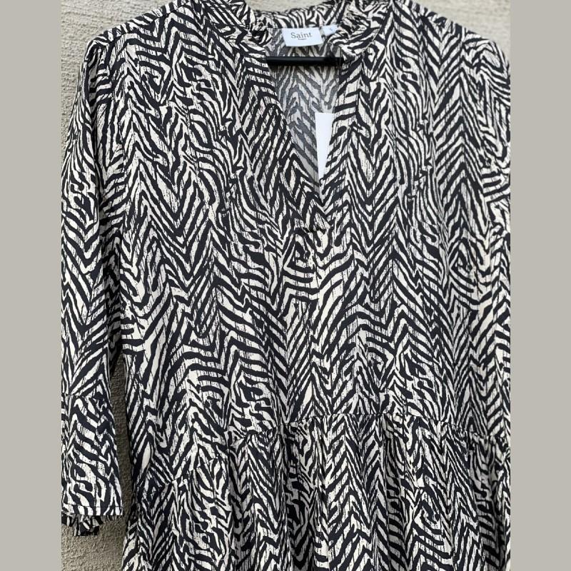 Klänning svart/beige zebra