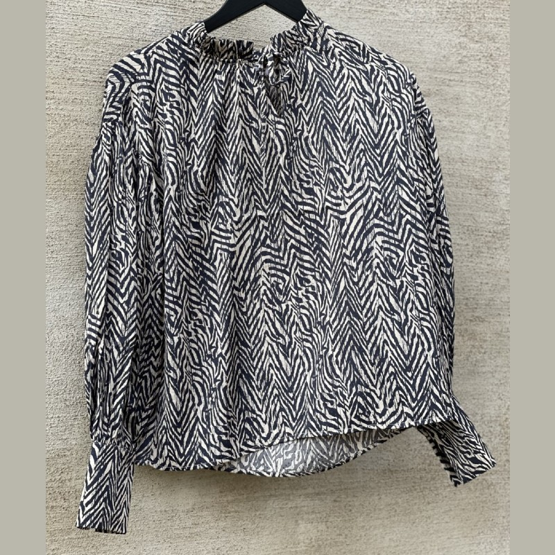 Blus svart/beige zebra