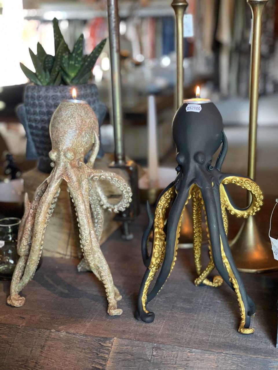 Ljusstake bläckfisk svart/guld