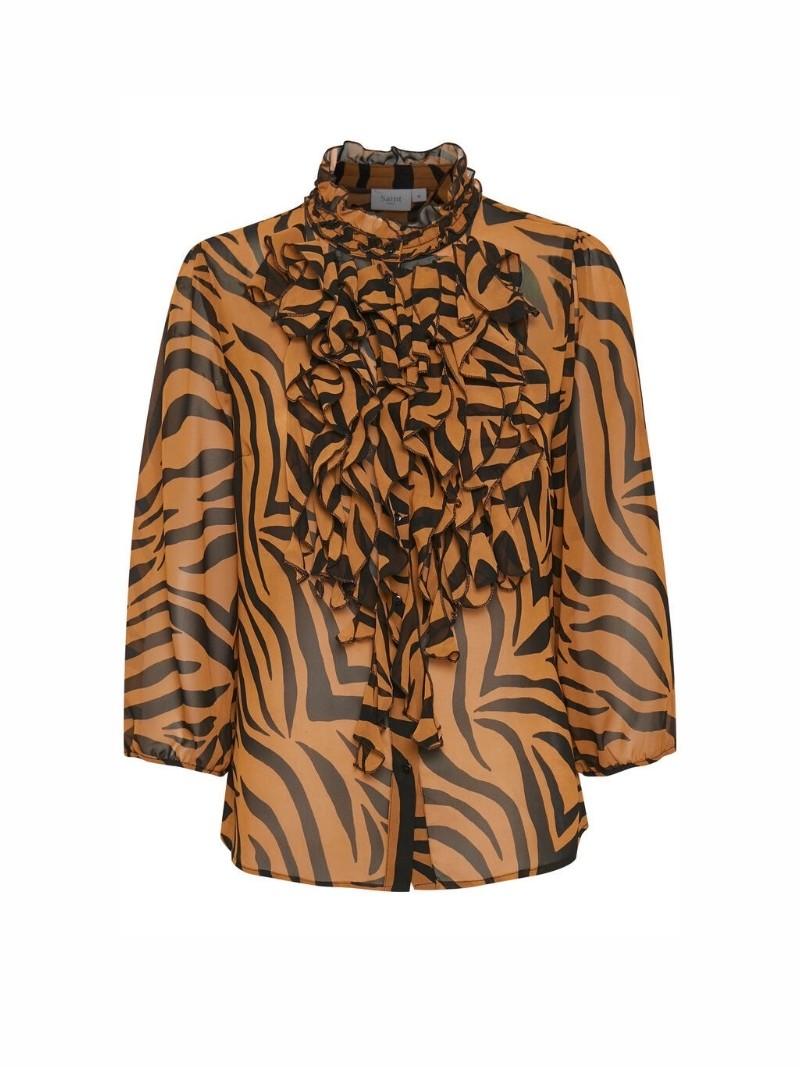 Blus med krås zebra