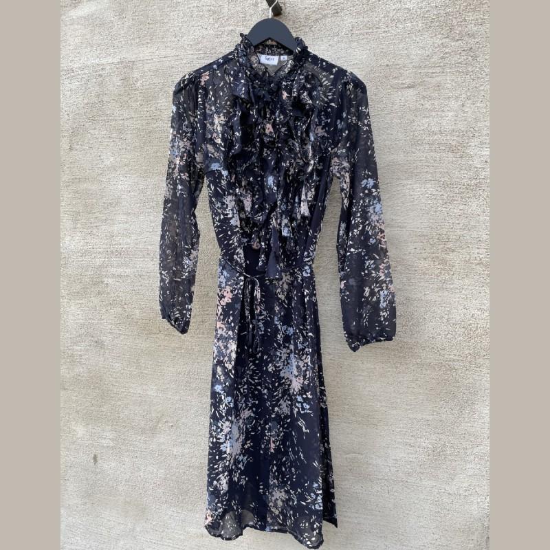 Klänning med krås blue Deep flower firework