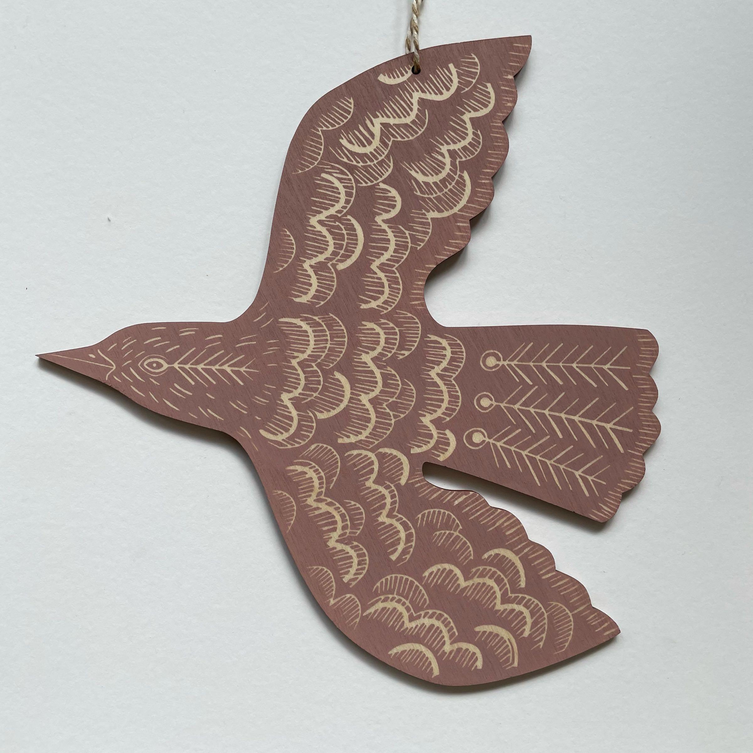 Hanging Blackbird by Kate Millbank, dusky pink