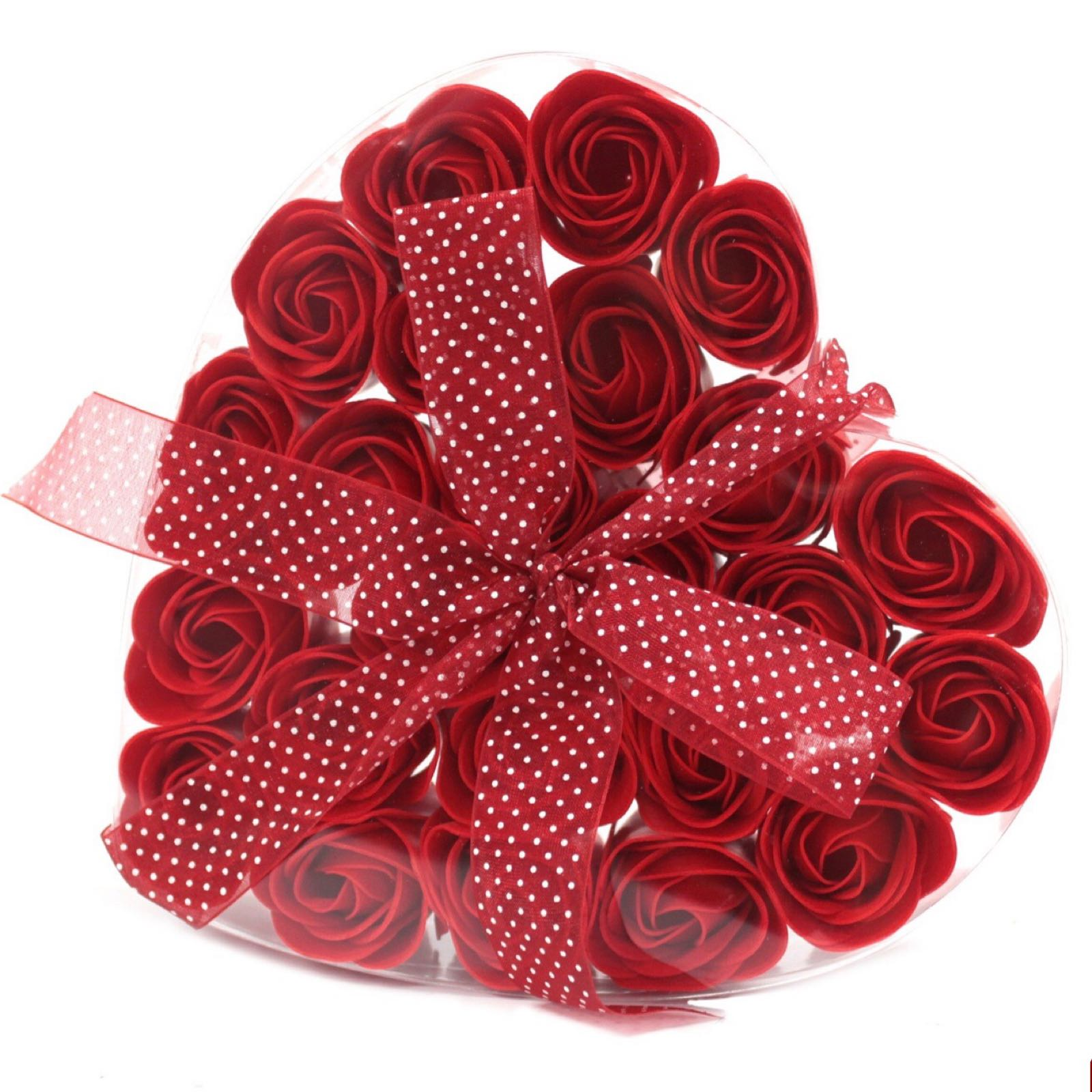 Soap Flower Heart Box - Red Roses (Was £8.50)