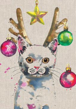 'Christmas Kitty' Splashy Animals Card