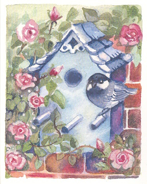 'Bird Box & Roses' Furzedown Gallery Mini Card