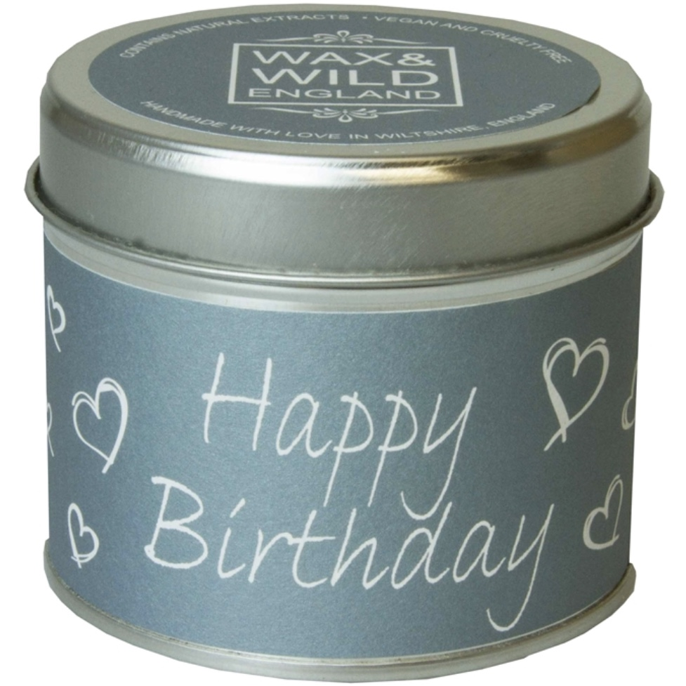 Happy Birthday Candle in a Tin