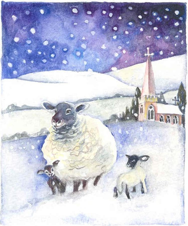 'Ewe & Lambs in the Snow' Furzedown Gallery Mini Card