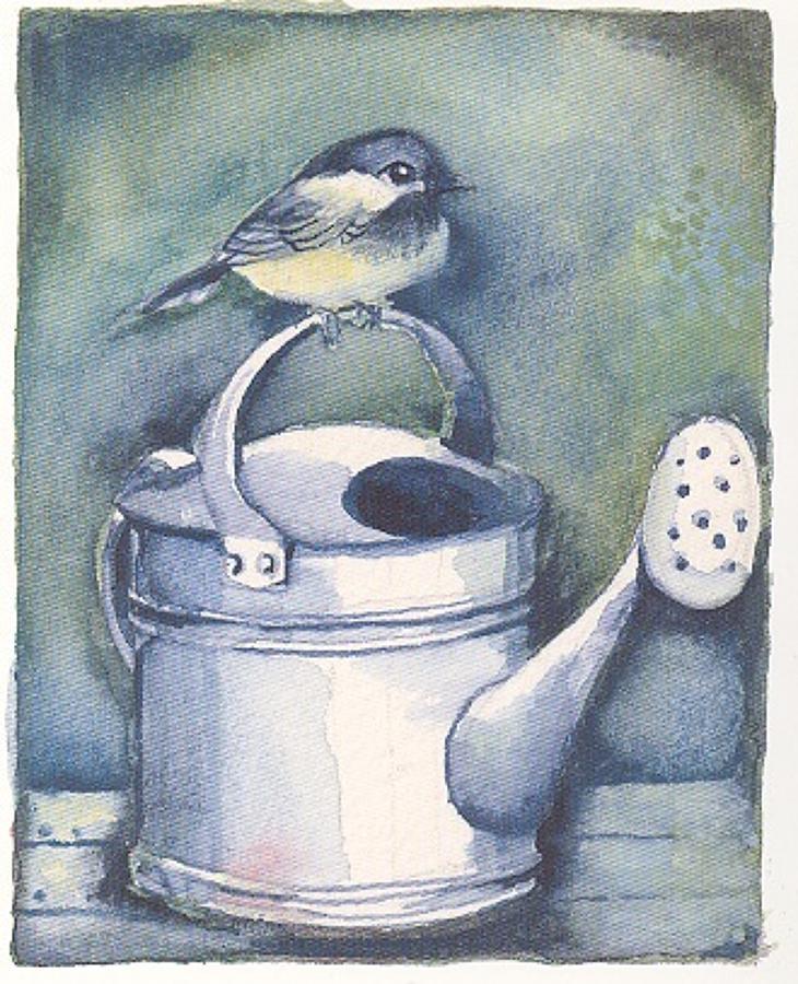 'Bird on a Watering Can' Furzedown Gallery Mini Card