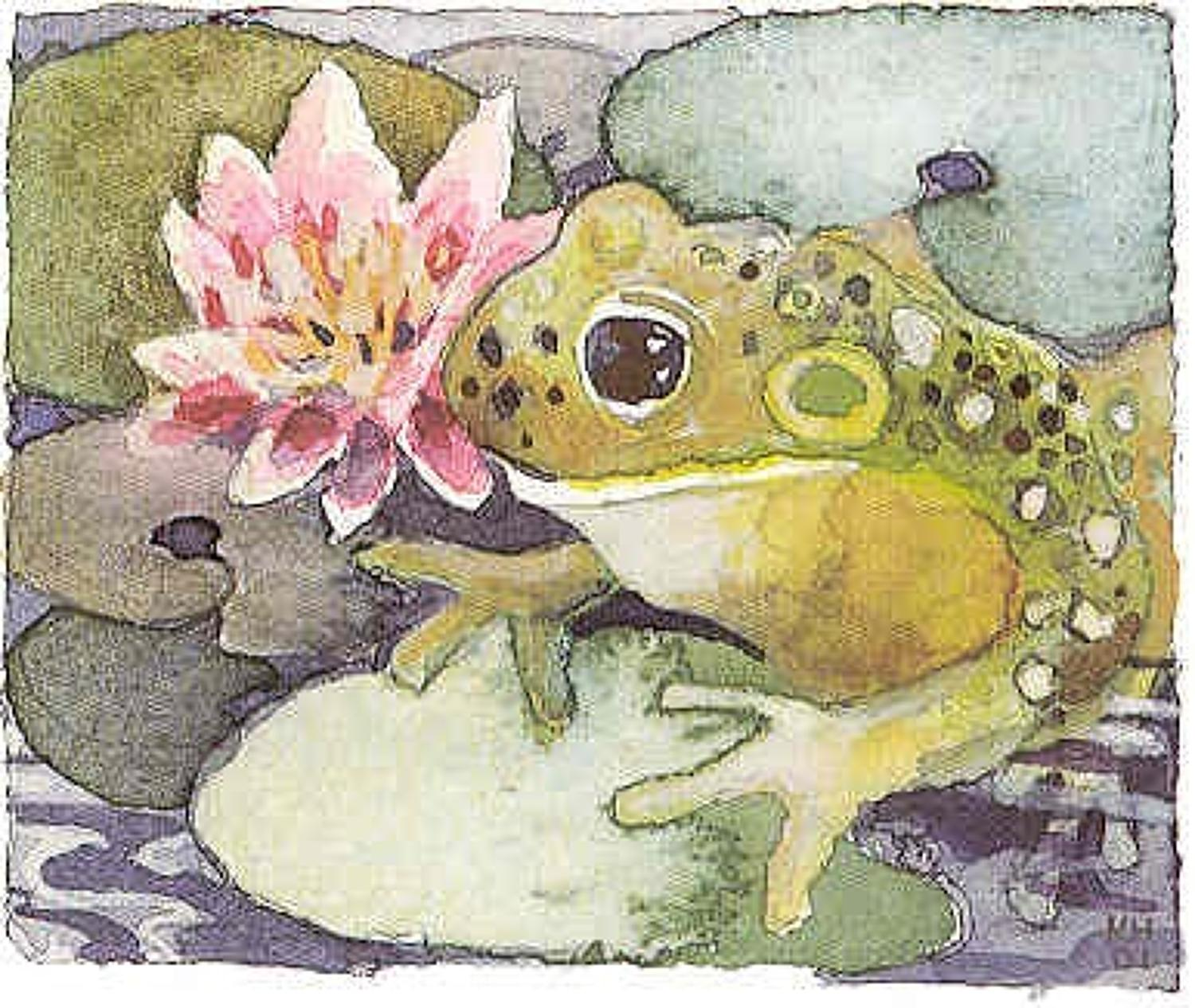 'Frog on Lily Pad' Furzedown Gallery Mini Card