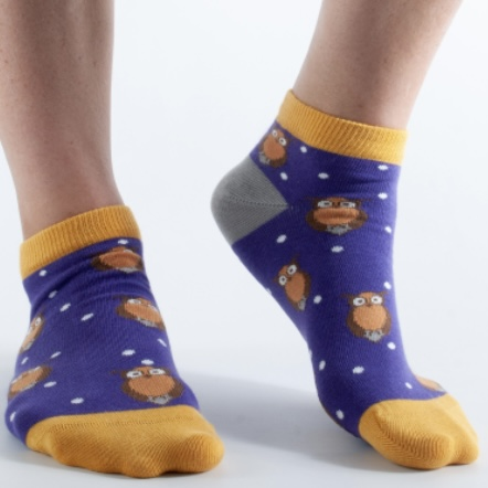 'Purple Owl' Ladies Bamboo Ankle Socks