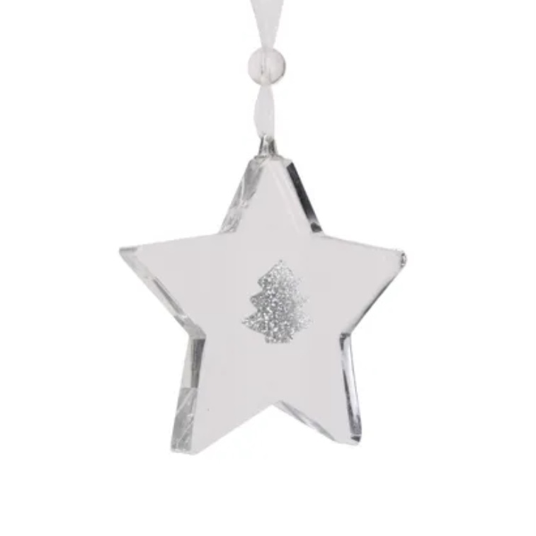 Glitter Glass Star Decoration